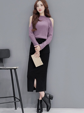 Ericdress Sweet Cold Shoulder Knitwear Leisure Suit