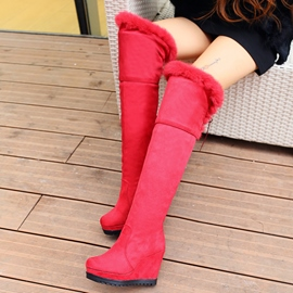 Ericdress Pretty Suede Furry Elevator Heel Thigh High Boots