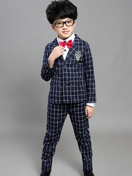 Ericdress Plaid Jacket and Pants 2-Piece of Boy's Suit