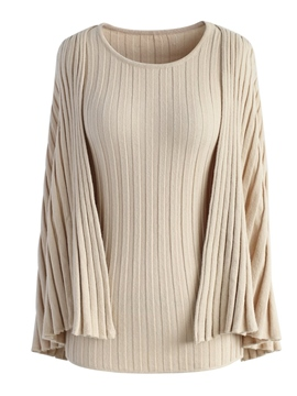 Ericdress Slim Round Neck Solid Color Knitwear