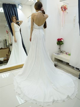 Ericdress High Quality Halter Beading Court Train A-Line Wedding Dress