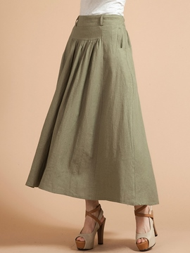 Ericdress Pleated Solid Color Usual Skirt