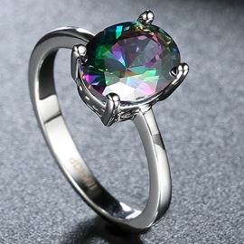 Ericdress Colorful Oval Zircon Ring