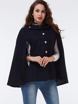 Ericdress Loose Stand Collar Solid Color Cape