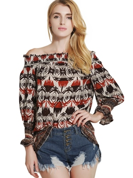 Ericdress Slash Neck Printed Blouse