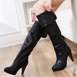 Ericdress Stylish PU Platform Stiletto Heel Knee High Boots