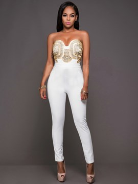 Ericdress Strapless Zipper Jumpsuits Pants