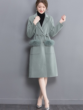 Ericdress Solid Color Slim Faux Fur Patchwork Coat