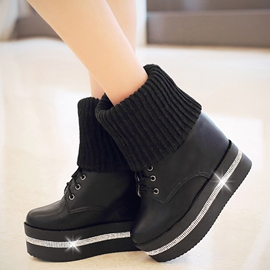 Ericdress Kintting Patchwork Platform Wedge Ankle Boots