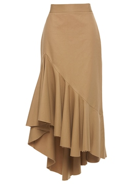 Ericdress Solid Color Vintage Frill Column Skirt