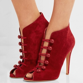 Ericdress Red Cut Out Peep Toe Stiletto Sandals