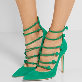 Ericdress Suede Point Toe Cut Out Stiletto Sandals