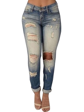 Ericdress Worn Hole Jeans
