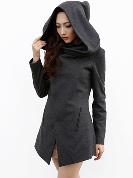 Ericdress Slim Asymmetric Hooded Coat