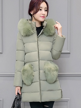 Ericdress Loose Faux Fur Patchwork Coat