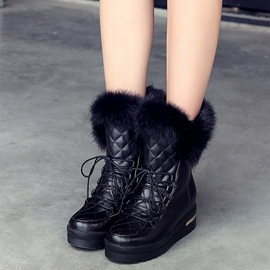 Ericdress Chic Grid Lace up Snow Boots