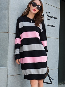 Ericdress Strip Colorful Patchwork Bud Sweater Dress