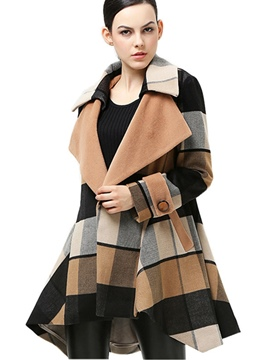 Ericdress Loose Plaid Turn-Down Coat