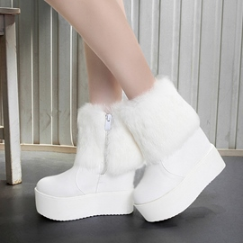 Ericdress Delicate Furry Wedge Heel Ankle Boots