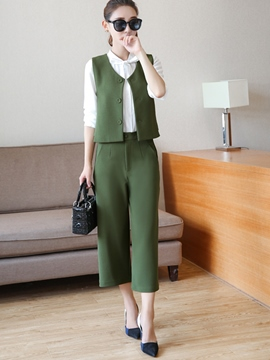 Ericdress Solid Color Two-Piece Leisure Suit