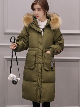Ericdress Straight Faux Fur Collar Coat