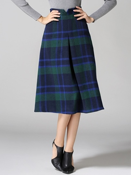 Ericdress Simple Vintage Plaid Vintage Skirt