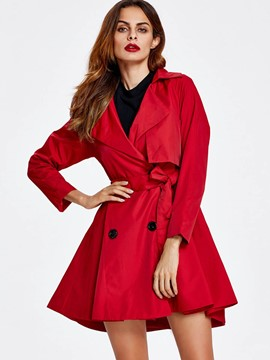 Ericdress Slim Solid Solor Lace-Up Trench Coat