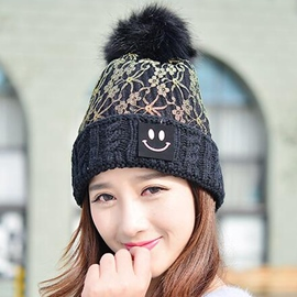 Ericdress Smiling Face Applique Lace Patchwork Hat