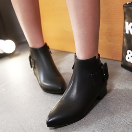 Ericdress Elegant Buckles Point Toe Ankle Boots