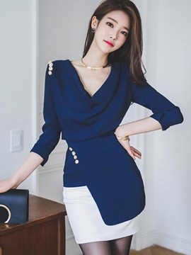 Ericdress Slim Asymmetric Heap Blouse