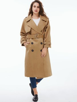 Ericdress Loose Double-Breasted Coat