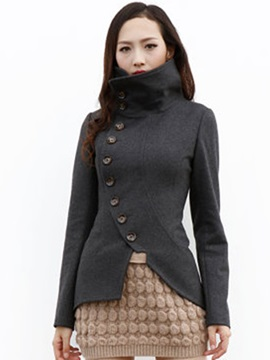 Ericdress Asymmetric Button Slim Coat