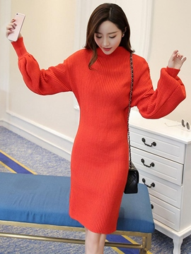 Ericdress Lantern Sleeve Stand Collar Sweater Dress