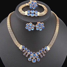 Ericdress Sapphire Inlaid Golden Four Pieces Jewelry Set