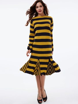 Ericdress Strip Knitting Mermaid Sweater Dress