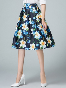 Ericdress Pleated Floral Print Skirt