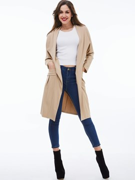 Ericdress Solid Color Loose Pocket Trench Coat