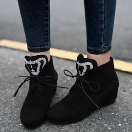 Ericdress Rhinestone Decoration Lace up Ankle Boots