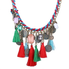 Ericdress Coins Tassel Pendant Necklace