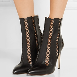 Ericdress Black Point Toe Back Zip High Heel Boots