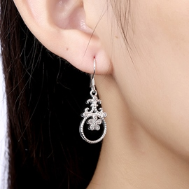 Ericdress Round Diamante Silver Plated Earrings