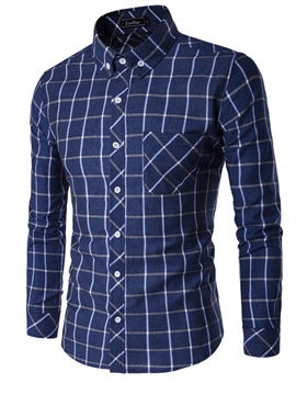 Ericdress Plaid Pocket Slim Long Sleeve Men's Shirt