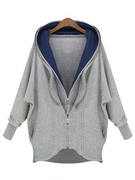 Ericdress Loose Color Block Zipper Hoodie