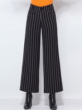 Ericdress High-Rise Stripe Wide Legs Pants