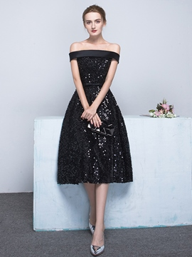 Ericdress A-Line Off-the-Shoulder Bowknot Sashes Sequins Tea-Length Evening Dress