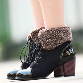 Ericdress Patchwork Short Floss Ankle Boots