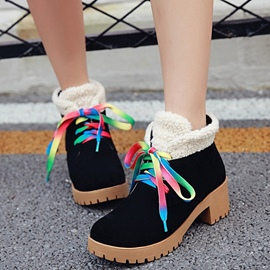 Ericdress Multi color Lace up Ankle Boots