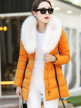 Ericdress Color Block Slim Fauc Fur Patchwork Coat