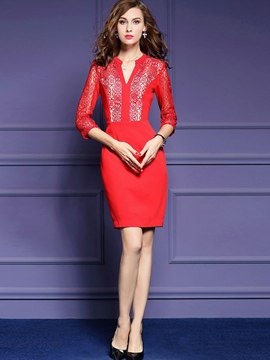Ericdress Mesh Embroidery Hollow Patchwork Bodycon Dress