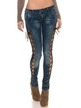 Ericdress Unique Lace-Up Jeans